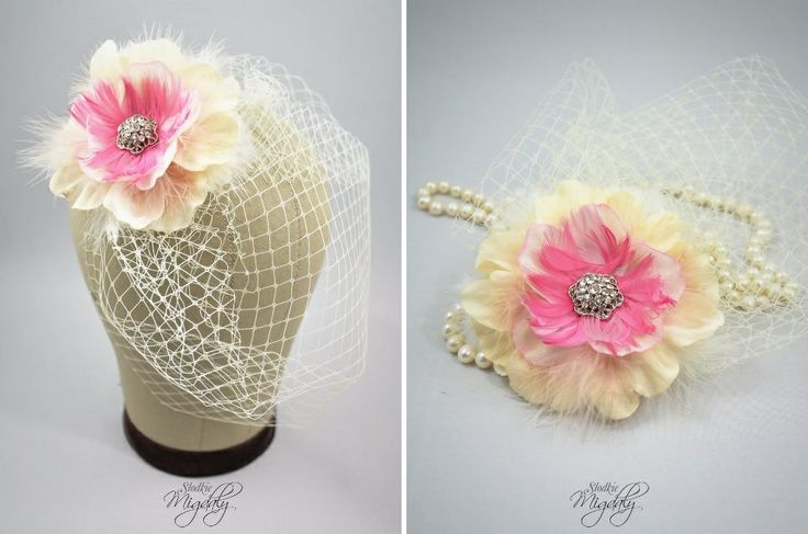 Ivory and pink flower birdcage veil