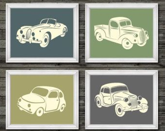 Vintage car and truck decor vintage nursery by customedgestudio