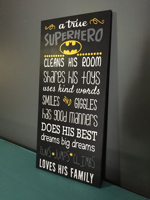 Batman Wood Sign a true Superhero: Wood Sign by CherryChipCafe