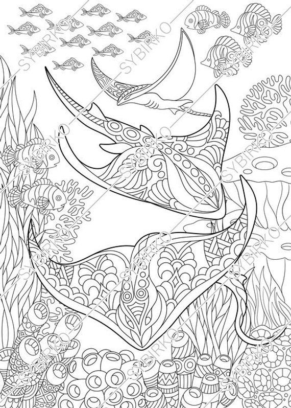 Coloring Pages For Adults Stingray Manta Ray Ocean Sea Fish