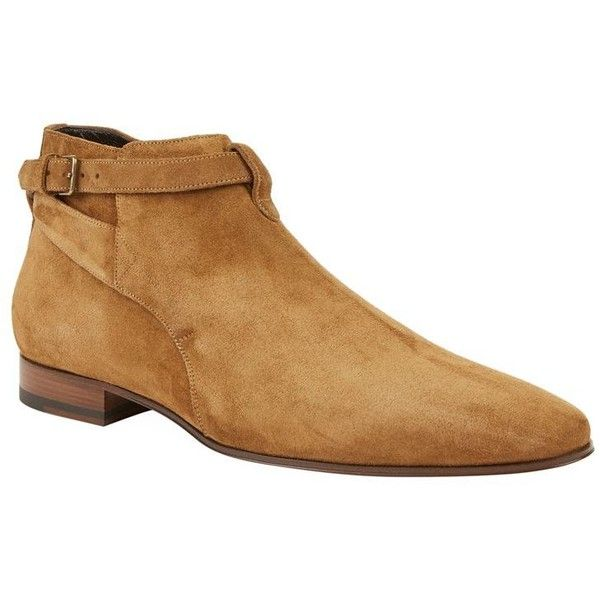 Saint Laurent Suede Hedi Boots ($775) ❤ liked on Polyvore featuring men's fashion, men's shoes, men's boots, mens suede shoes, mens suede boots, mens pointed toe boots, mens pointed toe shoes and yves saint laurent mens shoes