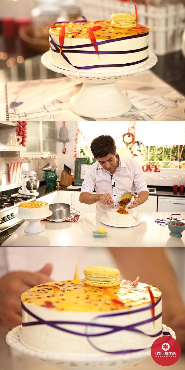Mauricio y sus macarrones INOLVIDABLES. Torta de maracuyá y almendras, por Mauricio Asta. Navidad Utilísima. www.utilisima.com/recetas/12127-torta-de-maracuya-y-almendras.html