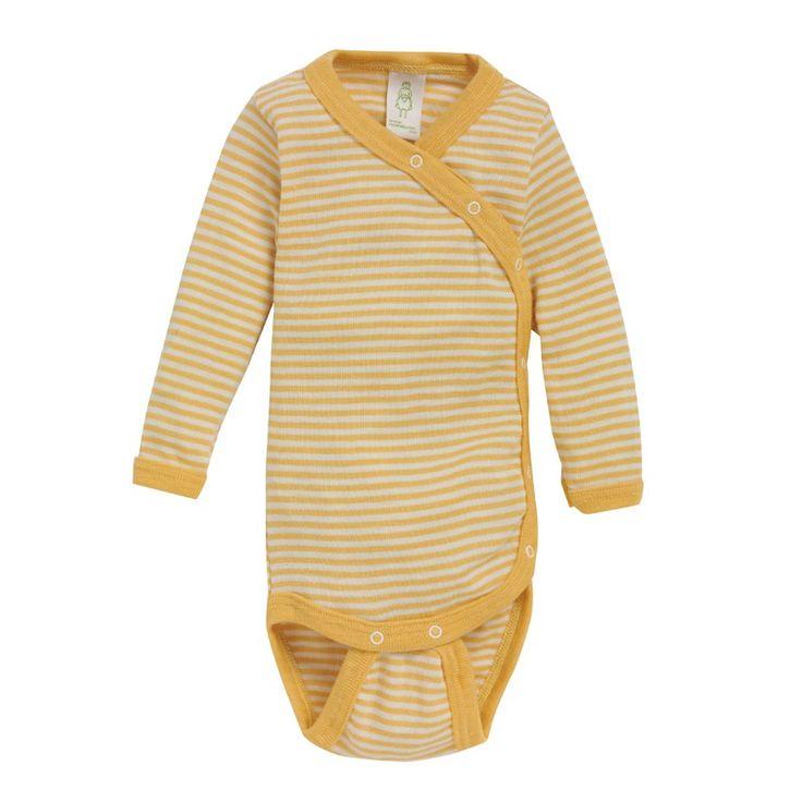 Langermet omslagsbody, ull/silke: Body i omslagsmodell med trykknapper. 70% merinoull, 30% silke. fra Nøstebarn.