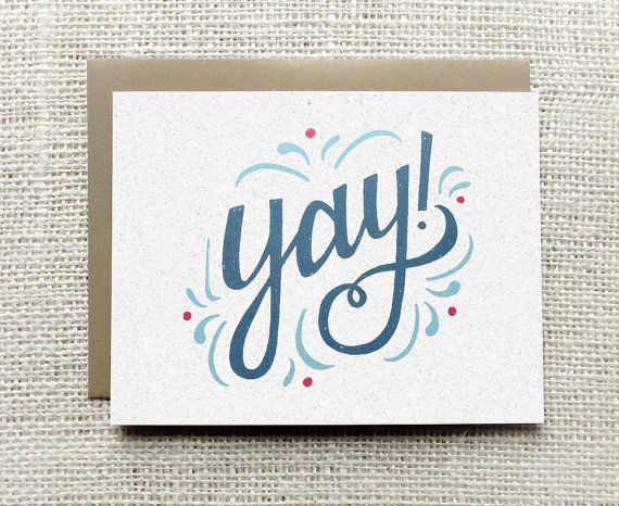 Congratulations Greeting Card Yay! Card Pretty Congrats Card Pretty Hand Lettered Typography Illustrated Card blue aqua pink kraft