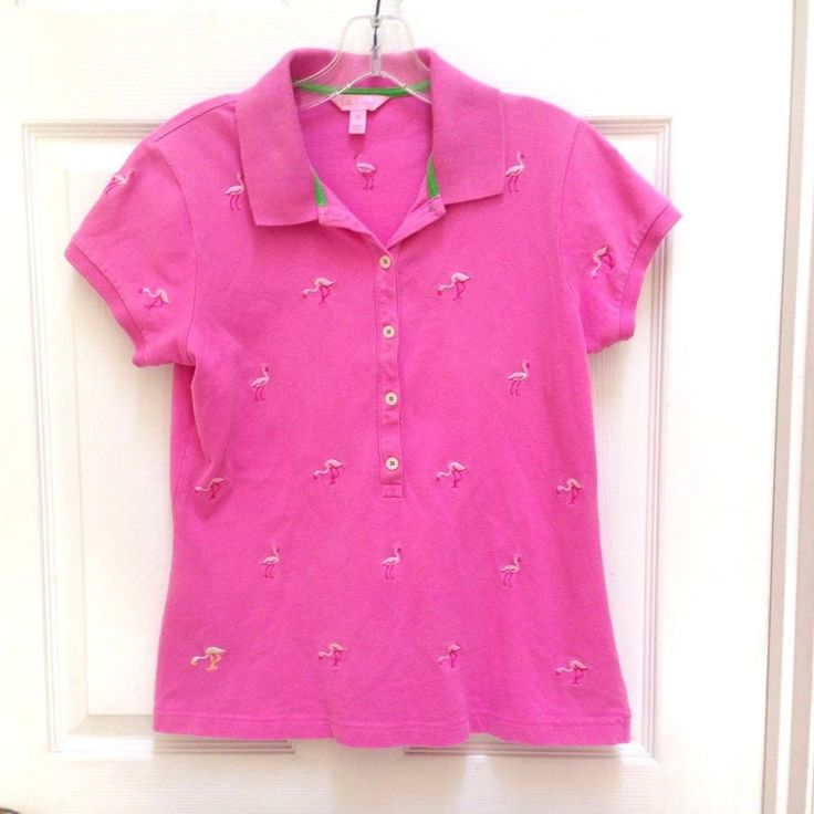 Lily Pulitzer Pink 5 button Polo w/ embroidered Flamingos size Medium #LillyPulitzer #Pink #Flamingo