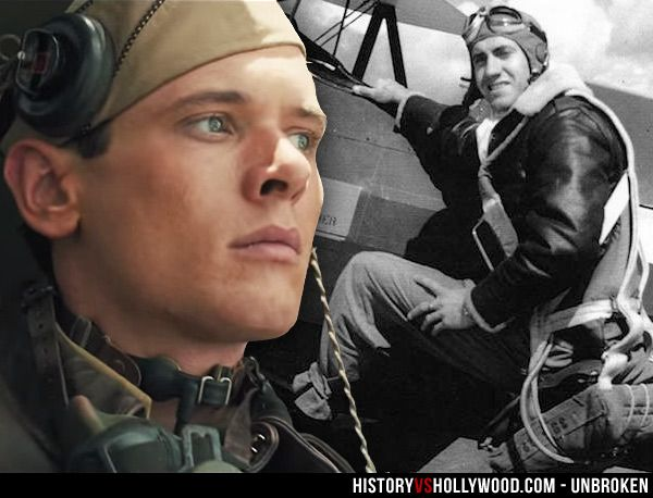 Jack O'Connell in the Unbroken movie and the real Louis Zamperini during WWII. See 'Unbroken: History vs. Hollywood' - http://www.historyvshollywood.com/reelfaces/unbroken/