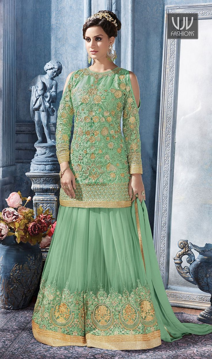 Wonderful Sea Green Color Net And Satin Designer Suit  Fashion and pattern will be on the peak of your splendor the moment you attire sea green color net and satin designer suit. It has been beautifully designed with embroidered, resham and zari work.