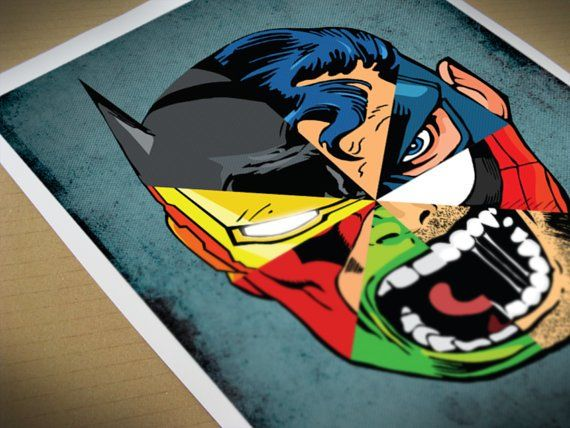 Comic Superhero Mashup: Superman, Captain America, Spiderman, Wolverine, Hulk, Flash?, Iron Man, Batman.