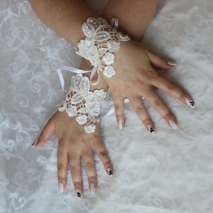 Wedding white lace beaded wrist cuffs / bracelets / wrist wraps by AlicesLittleRabbit on Etsy