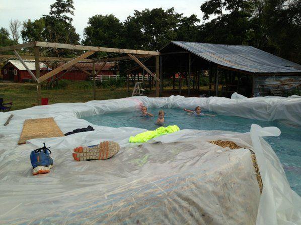 Gravette man's hay-bale pool