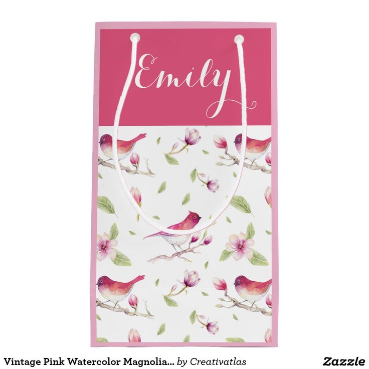 Gift Bag | Zazzle Vintage Pink Watercolor Magnolia Flowers and Bird Small | Artistic Gift Bags | Gift Accessories | Small Gift Bags | Custom Gift Bags | Watercolor Art Gift Bags | Floral Gift Bags | Zazzle