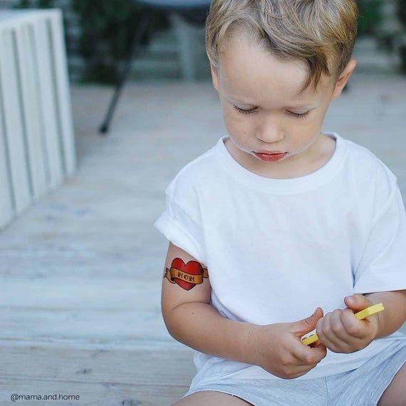 Liebe Mama Tätowierung. Set mit 3 falschen Tattoos für Liebesmama-Kinder. Muttertagsgeschenk auch groß …