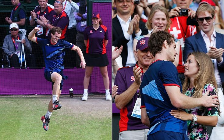 Andy Murray jumps for joy after defeating Roger Federer to win gold in the men's singles tennis - before climbing into the player's box to hug his girlfriend and family