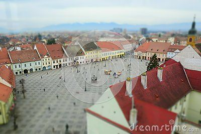 Aerial view of Sibiu in Transylvania, Romania and the ig square, miniature effect