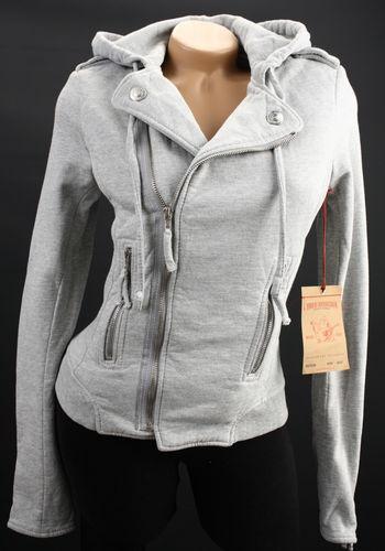 True Religion TR Womens Moto Fleece Zip Hoodie Jacket Sweatshirt