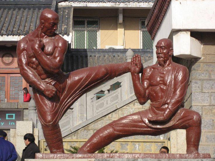 Kung fu statues outside the Performance Hall of Shaolin Monastery, Henan, China