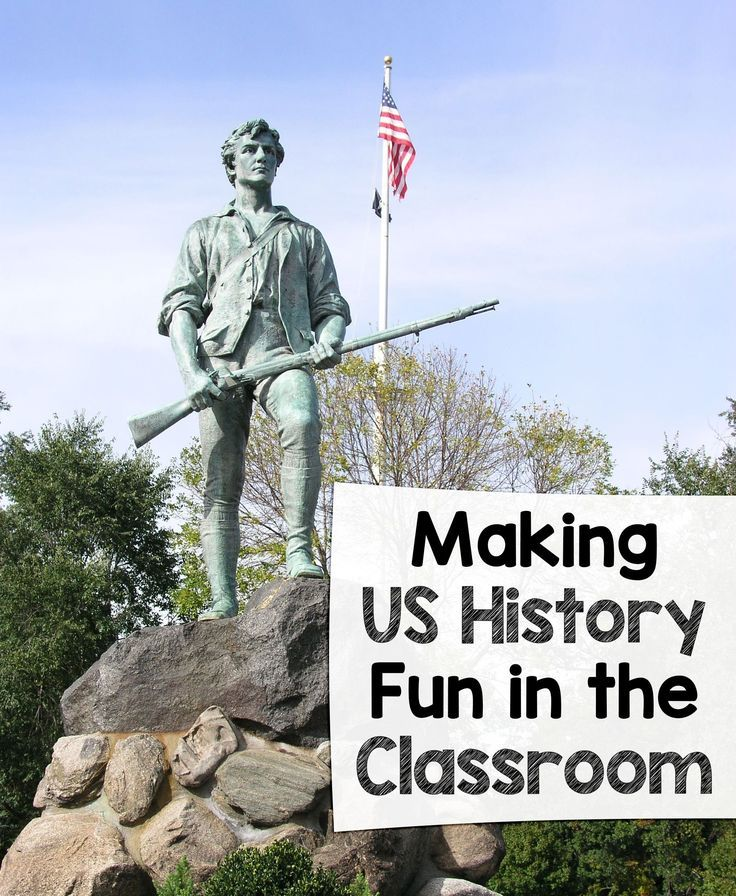 "Kids often find history ""boring"" because it's so ""old""! Here's how to make US History fun in the classroom – with several great resources to get you started! Perfect ideas for your upper elementary, middle school, or high school classroom. {4th, 5th, 6th, 7th, 8th, 9th, and 10th grade approved!}"