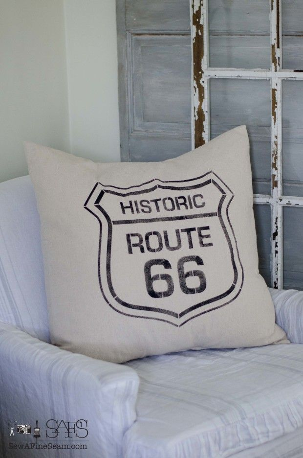 route 66 pillow feather filled - stencil from Funky Junk Interiors and pillow handmade by Sew a Fine Seam