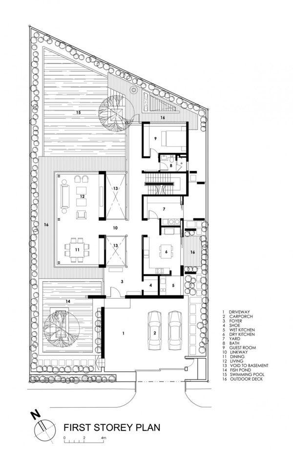 Travertine Dream House Wallflower Architecture Design First Floor Plan