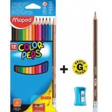 Maped Color Peps 12 darabos, háromszög alakú színes ceruza készlet - Színes ceruzák - 769Ft