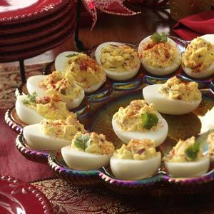 Deviled Eggs with Bacon Recipe from Taste of Home -- shared by Barbara Reid of Mounds, Oklahoma