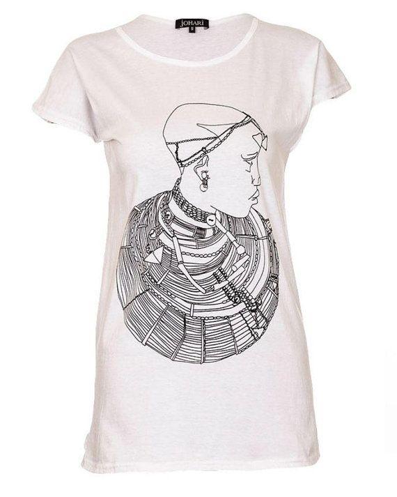 white Tshirt Tshirt cotton tshirt printed by KarangisCollections