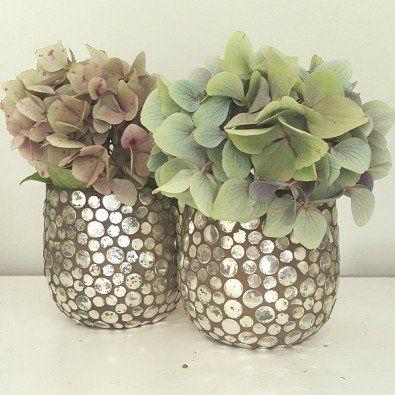 Fyrfadsglasstage med sølv
