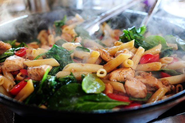 Chicken Florentine Penne    ~This is a simple yet fresh tasting dinner.  I would like to try it with brie (small cubes) next time too.    TPW_4540 by Ree Drummond / The Pioneer Woman, via Flickr