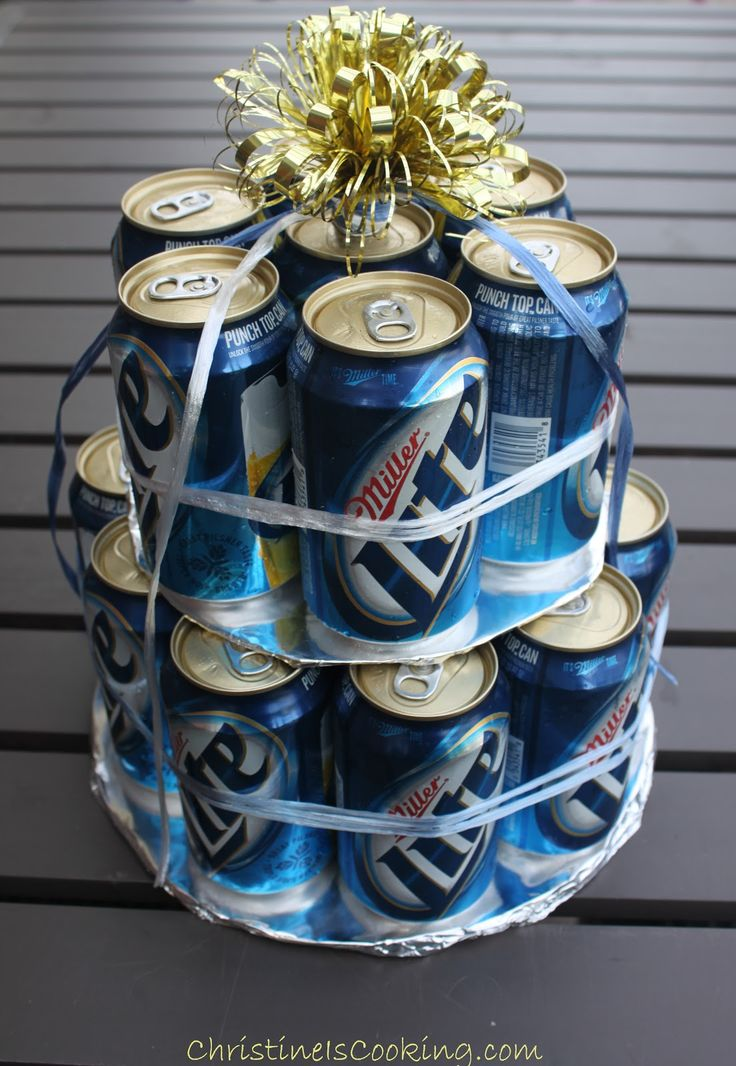 "How to Make an Easy Beer Can cake.  Could this be the ""daddy cake"" at a baby shower?"