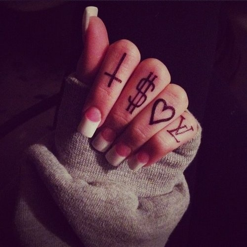 finger tattoos - cross, money sign, heart