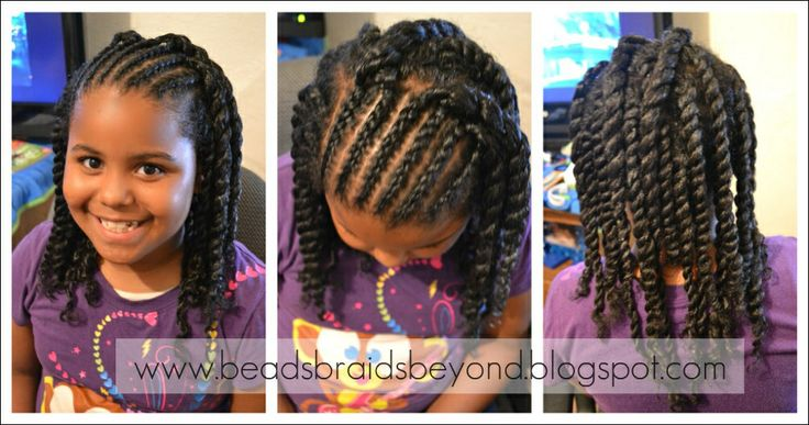 Lil Girl Hair Braiding Styles: Flat Twist Int Two Strand Twist. Natural Hair Style