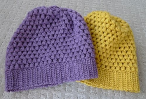 Puff stitch beanie, with regular crochet hook. Pictures here, but the blog links to a pattern by Vickie Howell on caron.com