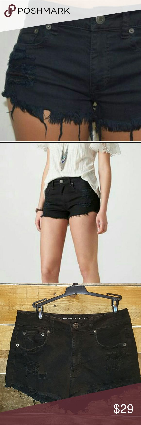 JUST INAEO HI-RISE CUTOFF JEAN SHORTS AMERICAN EAGLE OUTFITTERS HI-RISE FESTIVAL  DISTRESSED CUT OFF JEAN SHORTS COLOR BLACK SIZE 6 98% COTTON 2% SPANDEX BACK &  FRONT POCKETS GREAT PIECE FOR SPRING OR SUMMER! *NO TRADES NO RETURNS* American Eagle Outfitters Shorts Jean Shorts