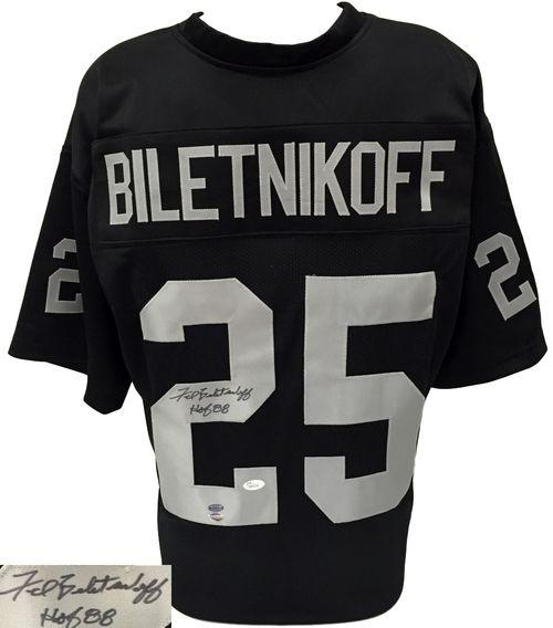 Fred Biletnikoff Signed Custom Black Football Jersey HOF Insc. JSA