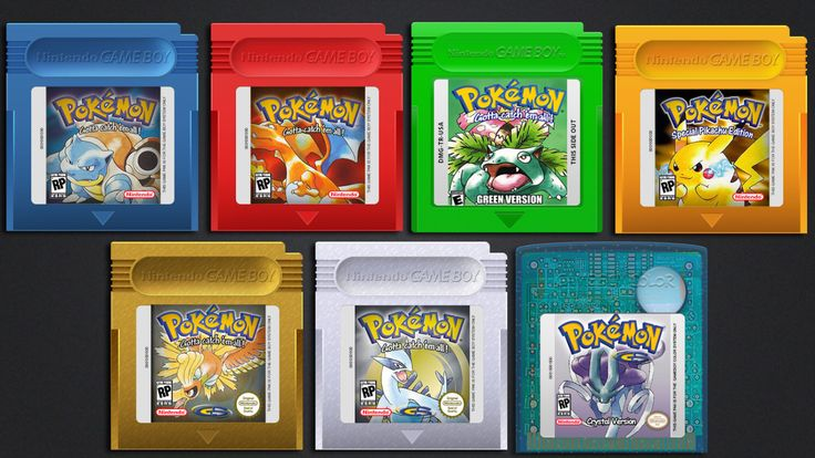 7Pcs / lot Pokemon GameBoy Color GBC Blue + Red + Green + Yellow + Gold + Silver & Crystal Version Reproduction Cartridge - FREE SHIPPING by SuperCheapStore on Etsy https://www.etsy.com/listing/468975160/7pcs-lot-pokemon-gameboy-color-gbc-blue