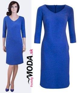 Modré šaty do práce - trendymoda.sk