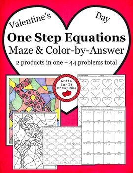 Valentine's Day One Step Equations ~ Answer Keys Included - no prep ...