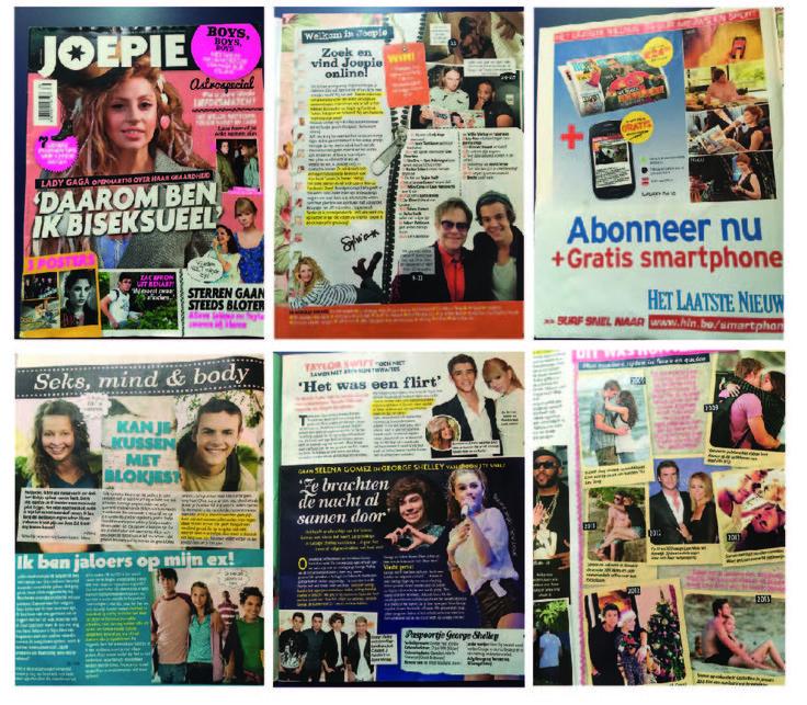 JOEPIE MAGAZINE - Magazine voor jongeren met schreeuwerige cover. Zeer opvallend en gebruik van felle beelden. Fluo kleuren en een mix van beelden in een collage.   De type is zeer afwisselend en druk. Niet altijd even leesbaar, maar aantrekkelijk voor de jeugd. Tabloid stijl om foto's te laten opvallen.   Stramien is zeer chaotisch naargelang het past. Elke pagina is even druk, maar toch steeds anders opgebouwd. Advertenties krijgen een one pager.   Pagina nummer in de linker en…