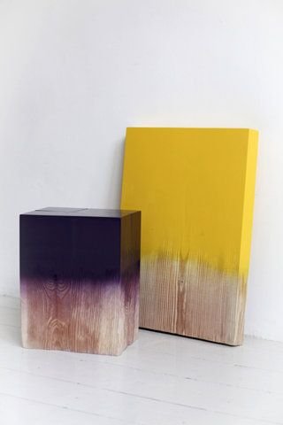 Paint-dipped and ombre-d wood. Would make interesting art pieces to decorate the house, perhaps bookends?