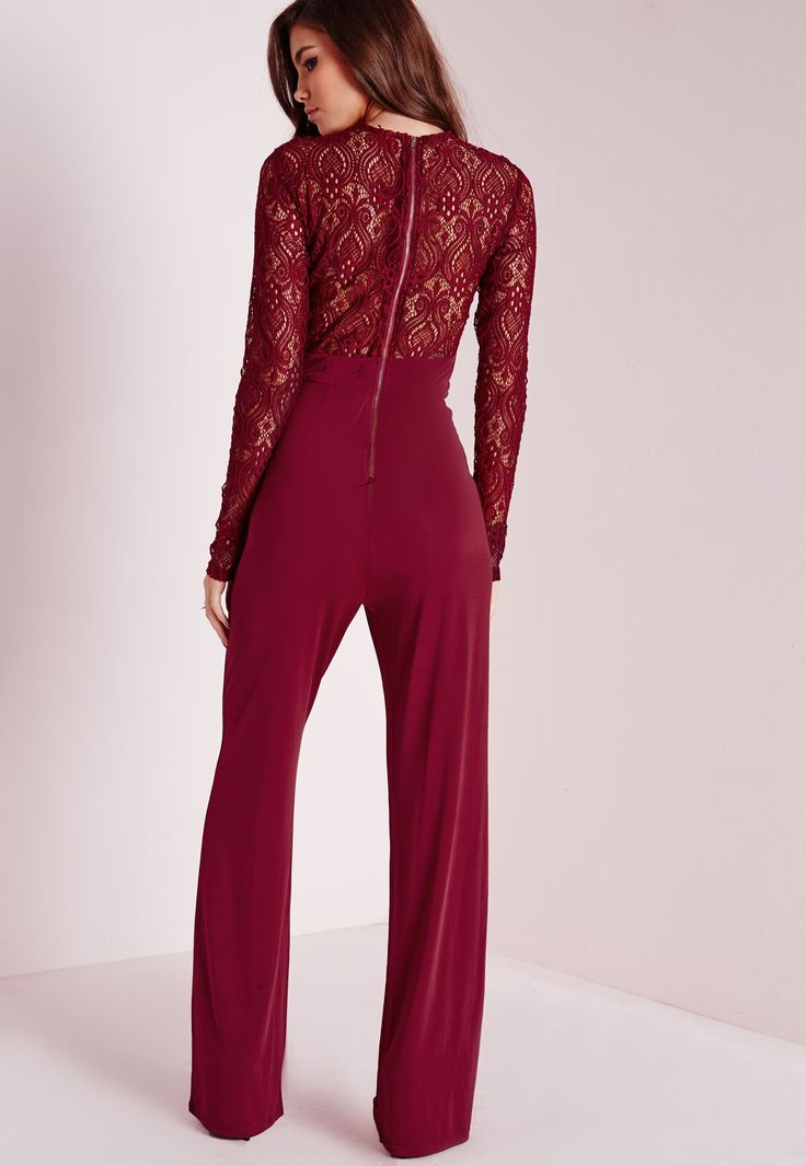Missguided - Lace Slinky Jumpsuit Burgundy