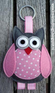 felt owl keyring