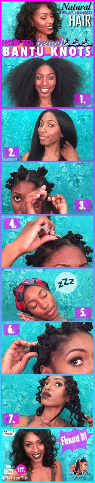 BANTU KNOTS ON NATURAL FLAT IRONED HAIR