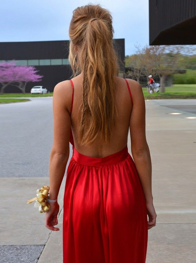 A Line Spaghetti Straps Backless Floor Length Red Prom Dress Maxi Dress Prom V Neck Prom Dresses Spaghetti Strap Prom Dress