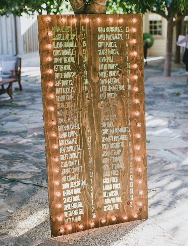 Put their names up in lights. Fun seatling plan idea for carnival wedding seen on Brit + Co.