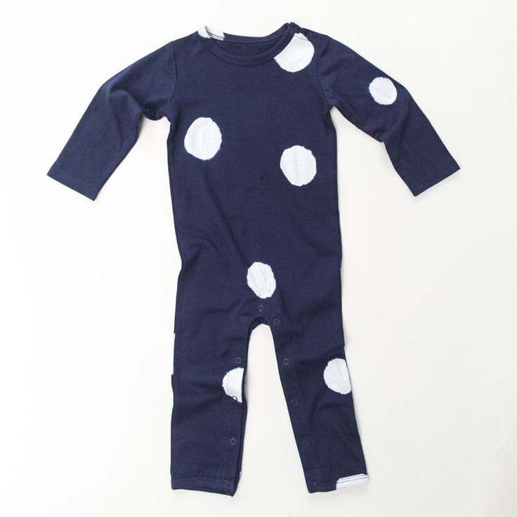 Hendrix Spot Jumpsuit by Frankie Jones The Label (Autumn/Winter 2016) | navy polka dot onesie | navy polka dot romper | Baby Style | Baby Fashion | Baby Outfit | Boho Baby