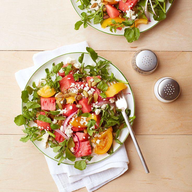 Salade de melon d'eau et de tomate au feta et aux graines de citrouille Recette   Weight Watchers Canada