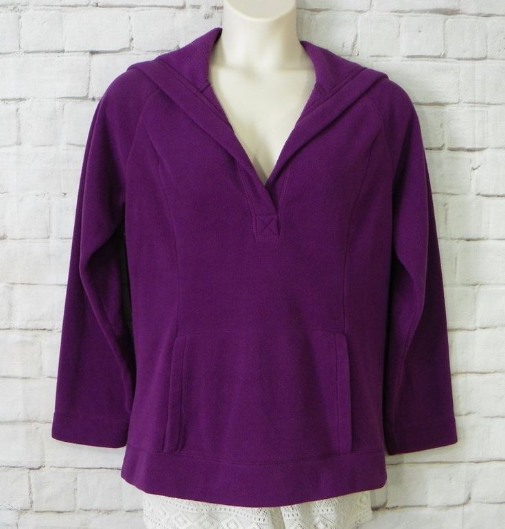 Womens BASS Heritage Collection Purple Fleece V-Neck Hooded Pullover Top Size XL #Bass #FleecePullover #Casual