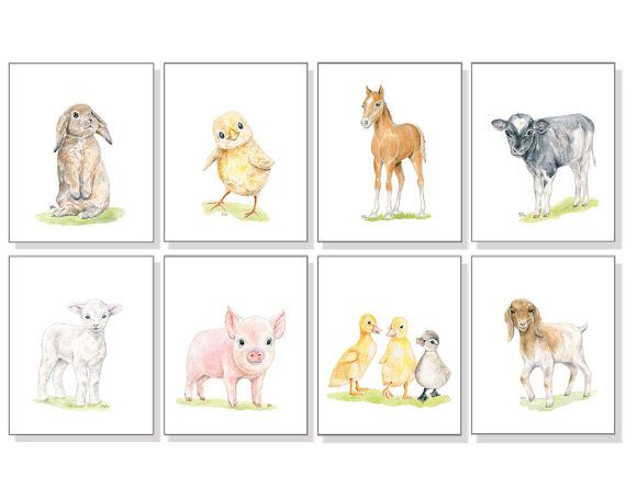 Farm Animal Print Barn Animal Art Nursery Art by jamesriverstudios