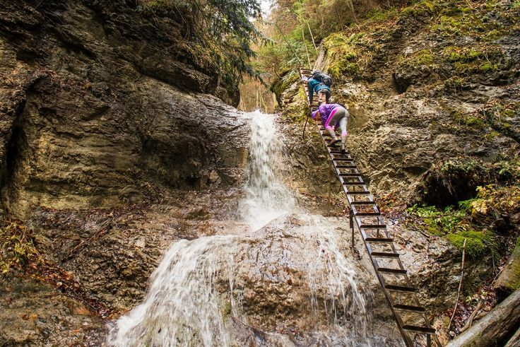 Climbing up a ladder in the Slovak Paradise