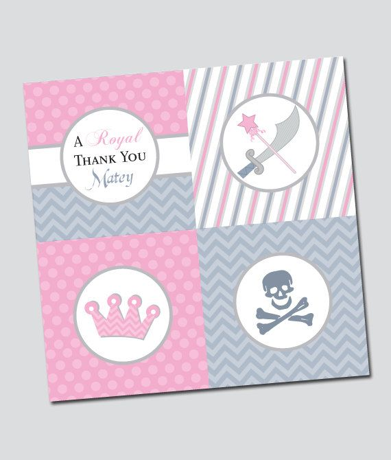 Pirate and Princess Party Cupcake Toppers or Party by thinkRSVP, $10.00